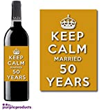 Keep Calm 50th Golden Wedding Anniversary Wine bottle label Celebration Gift for Women and Men.