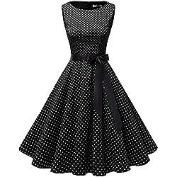 Gardenwed mujer sin mangas cóctel fiesta retro black small white dot