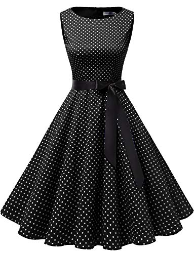 Gardenwed Damen 1950er Vintage Cocktailkleid Rockabilly Retro Schwingen Kleid Faltenrock Black Small White Dot L