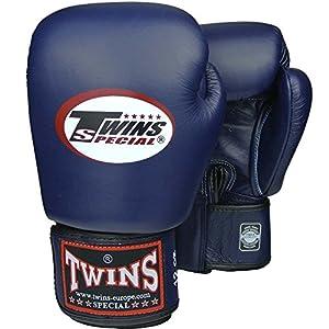 TWINS Boxhandschuhe, Leder, blau, Muay Thai, leather boxing gloves, MMA Size...
