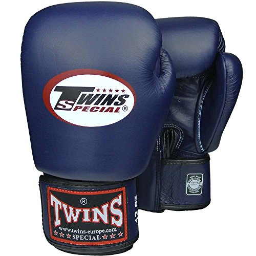 TWINS Boxhandschuhe, Leder, blau, Muay Thai, leather boxing gloves, MMA Size 12 Oz - Twin