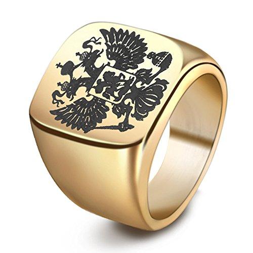 Männer Schmuck Titan Stahl Russische Emblem Double Eagle Logo Ringe,Gold,Größe 59(18.8) (Für Männer Titan-holz-ring)