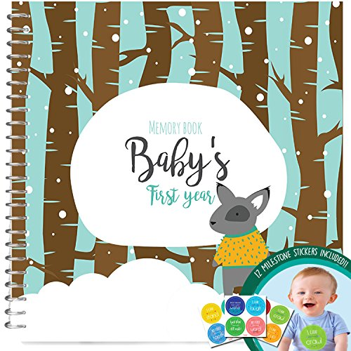 SNOWY MEMORY BOOK + STICKERS - Unconditional Rosie Baby Boy's First Year Record Book With 12 Milestone Stickers Included
