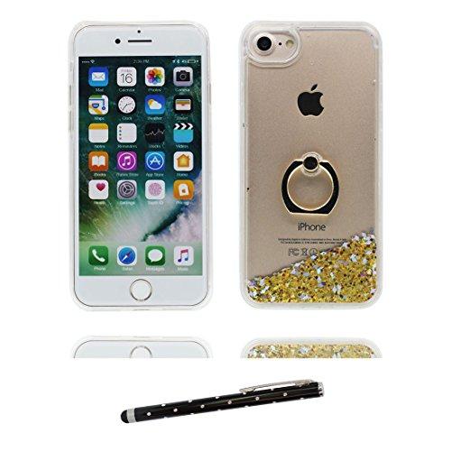 """iPhone 6 Coque, Étui Cover pour iPhone 6S 4.7"""", Bling Glitter Fluide Liquide Sparkles Sables Hard Shell ring Support iPhone 6 Case 4.7"""", Résistant à la poussière Scratch & stylet bleu # 4"""