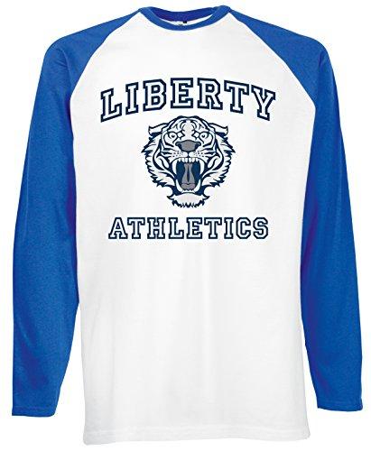 Reality Glitch Herren Liberty Athletics Baseball T-shirt Long Sleeve(Königsblau, XX-Large) (Athletic-baseball-t-shirt)