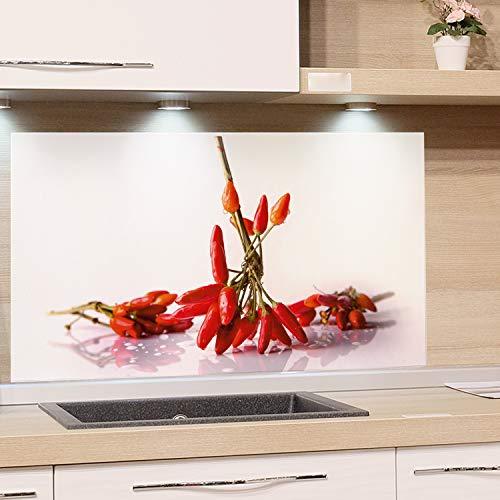 GRAZDesign Küchenrückwand Glas-Bild Spritzschutz Herd Edler Kunstdruck hinter Glas Bild-Motiv Chili Eyecatcher für Zuhause / 100x50cm