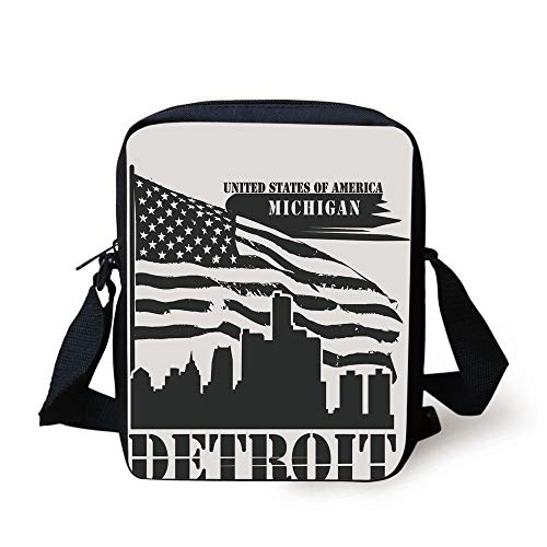 LULABE Detroit Decor,Monochrome Grunge City Silhouette American Flag United States Michigan Decorative,Black and White Print Kids Crossbody Messenger Bag Purse