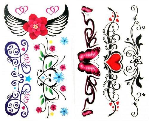 ungiftig temporäre Tätowierung stickerslatest neue Release 1 Packung mit 2 Stück wasserdicht bunte Blume Schmetterling roten Herzen und Engelsflügel Fake Tattoos ()