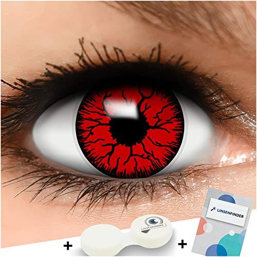 FUNZERA Farbige Kontaktlinsen Devil in rot und schwarz inklusive Kontaktlinsenbehälter, 1 Paar Linsen (2 Stück)