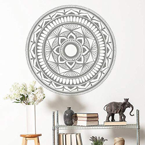 Mandala Decorazione murale domestica Adesivi murali Vinile Decorazione domestica Camera Yoga Studio Murale Lotus India Adesivo staccabile Interior Design Caffè 57x57cm