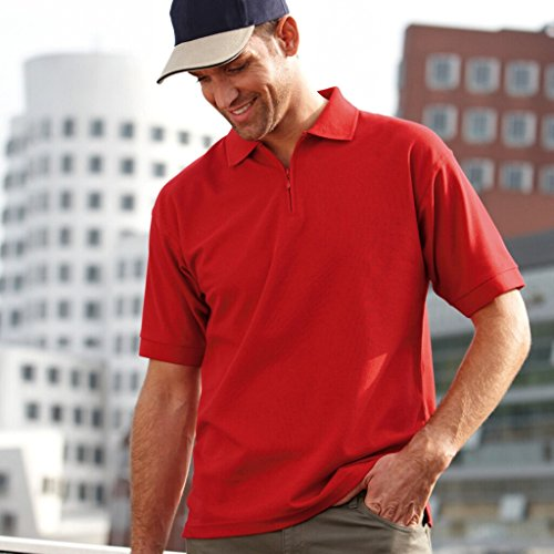 JAMES & NICHOLSON Kurzarm Polohemd mit Reißverschluss Red