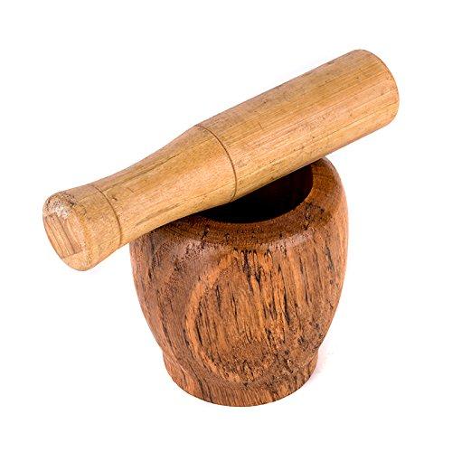 Holzwaren Mischen Schleifen Mörser mit Stößel für Knoblauch Ingwer - 3