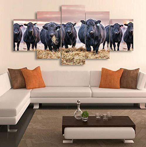 Sanzx 5 Stück Leinwanddruck Malerei Dorf Bauernhof Schwarze Kuh Leinwand Bild Decor Print Poster Wandkunst Wohnkultur Rahmenlose 30 * 40 * 2 30 * 60 * 2 30 * 80 Cm