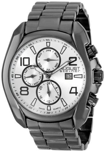August Steiner Hombre multifunción de cuarzo suizo reloj de pulsera de pistola plateada