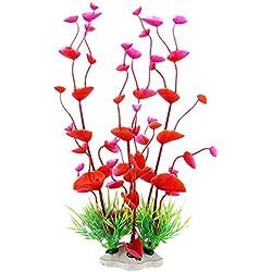 Danmu Art 2Ein Set Kunststoff und Polyresin Künstliche, Wasserpflanzen Aquarium Pflanzen für Fische Tank