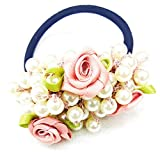 #2: Pearls with Flowers Rope Hair Rubber Band Hair Accessories Pearls Elastic Fancy Rubber Band Ties Ponytail Holder Scrunchy for Girls & Women's.