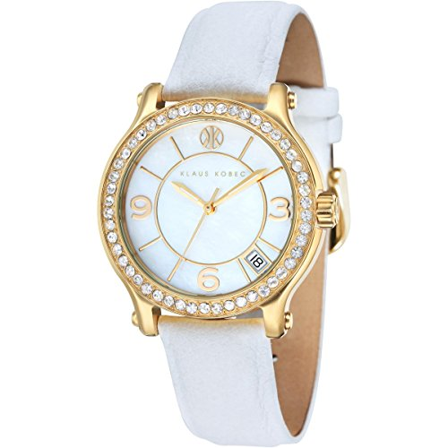 Klaus Kobec KK-10019-03 Ladies Venes White Leather Strap Watch with Crystal Bezel