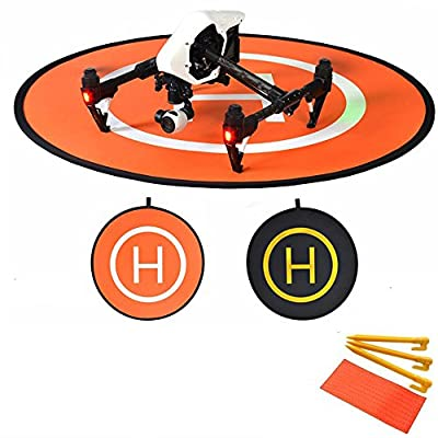 Kingwon Helicopter Safety Protection Landing Launching Pad 2 Side Use with Light Reflection Stripe RC Quadcopters Drone Take Off Landing Mat for DJI phantom 2 3 4 inspire 1 Mavic Pro, Foldable with a Travel Carry Bag,Black and Orange from Kingwon Tech