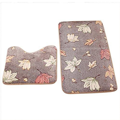 Hosaire 2 Piezas alfombra de cuarto de baño de franela Contour alfombra para WC Tapa alfombra antideslizante alfombra de bibulous