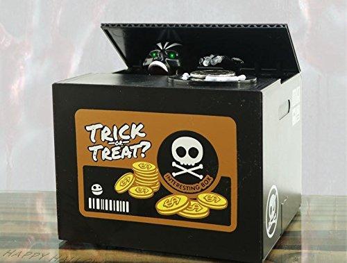 igartig Stehlen Geld Schädel Skeleton Statue Niemals öffnen Münze Speichern Box Piggy Geld Bank für Kinder Halloween Geschenk ()