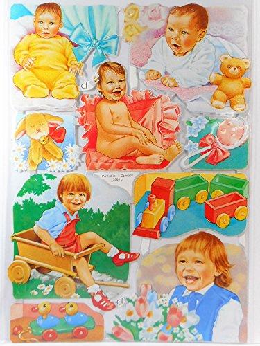 Glanzbilder Baby Rosa Blau EF 7068 B Oblaten Posiebilder Scrapbook Deko GWI 335 -