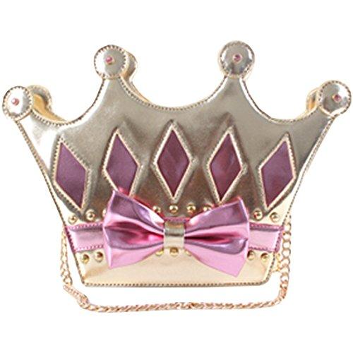 Partiss Damen Sweet Lolita Japanische Krone Shaped Gothic PU Umhaengetasche Vintage College Handtaschec Punk Lolita Bags Pink