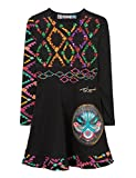 Desigual Mädchen Kleid Vest_UAGAGUDU, Schwarz (Negro 2000), 128 (Herstellergröße: 7/8)