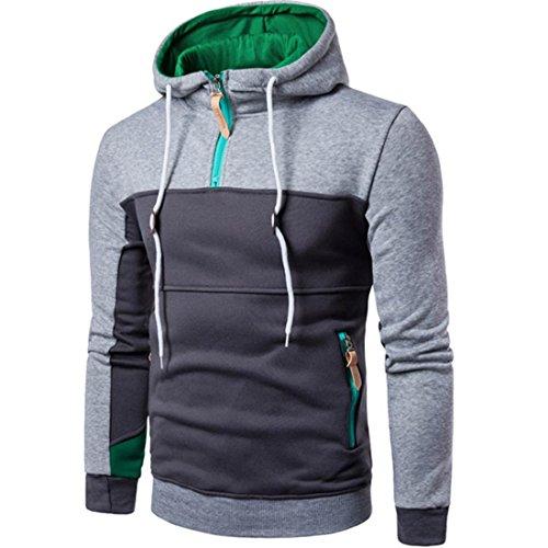 Btruely Pullover Herren Mode Patchwork Sweatshirt Lange Ärmel Mantel Outwear