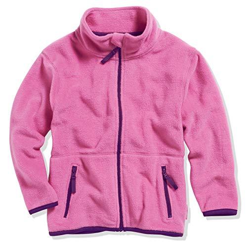 Playshoes Mädchen Fleece farbig abgesetzt Jacke, Rosa (pink 18), 128