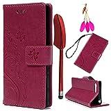 YOKIRIN Sony Xperia X Compact Lederhülle Hülle Case für Sony Xperia XCompact Flipcase Tasche Handyhülle Schmetterling PU Leder Schutzhülle Kartenfächer Magnetverschluss Cover Rose Rote