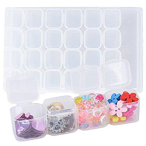 Caja de Almacenamiento de Plástico Transparente con 28 Compartimentos Organizador Joyas Pendientes pastillas Decoraciones de Uñas (Transparente)