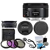 Canon EF 50mm f/1,8STM Objektiv für Canon Kameras mit 3TEILIGES Filter-Set (Filterset) + Objektiv Reinigung Kit