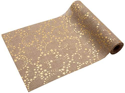 Tischläufer Sterne Gold, 5 m x 28 cm, Jute Design hellbraun | Tischband | Tischdeko Weihnachten +...