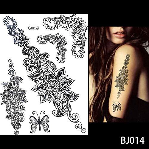 Modeganqing 5 stücke wasserdichte Tattoo Damen schwarz Tinte Henna schmuck Spitze Tattoo Aufkleber BJ014 14,8 cm * 21 cm
