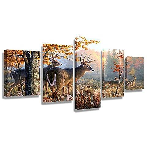 5 Stück Wand-Kunst-Malerei Whitetail-Rotwild im Herbst Sonnenlicht-Waldbilder Drucke auf Segeltuch Tier das Bild-Dekor-Öl für Haus Moderne Dekoration-Druck (60