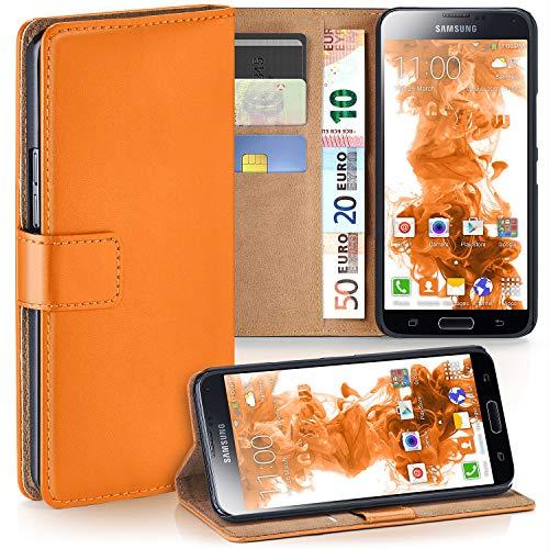 moex Samsung Galaxy S5 | Hülle Orange mit Karten-Fach 360° Book Klapp-Hülle Handytasche Kunst-Leder Handyhülle für Samsung Galaxy S5 / S5 Neo Case Flip Cover Schutzhülle Tasche