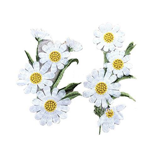 (binglinghua 1Paar White Chrysanthemum bestickt Blume Kleidung Patches Aufkleber Stickerei Abzeichen Eisen auf Aufnäher Patch für Taschen Jacken Tischdecke betttuches)
