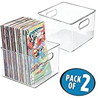 mDesign Set of 2 Storage Boxes - Plastic Storage Bins Ideal for Books, Magazines, Newspapers, and Comic Books - Square Plastic Box with Built-in Handles - Clear