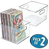 mDesign 2er-Set Aufbewahrungsbox – Stehsammler für Comics, Magazine, Zeitungen, Bücher etc. – quadratische Kunststoffbox mit integrierten Griffen – durchsichtig
