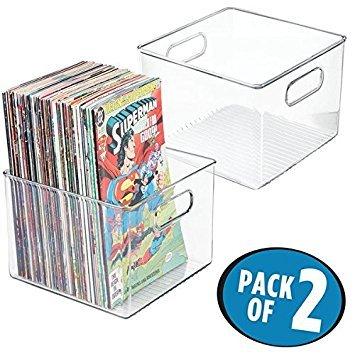 mDesign Set da 2 Contenitori in plastica - Raccoglitori Fumetti, riviste, Libri, giornali, ECC. - Portagiornali Quadrato in plastica con Manici integrati - Trasparente
