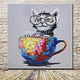 yiyiyaya Rahmenlose handgemalte Malerei Cup und Katze Tierprodukte-60x60cm
