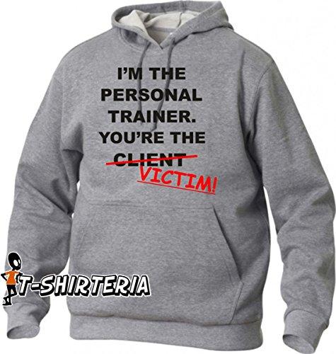 felpa con cappuccio humor I'm the personal trainer ……  - tutte le taglie uomo donna S M L XL XXL maglietta by tshirteria grigio