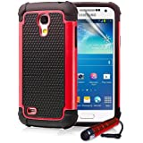 ihomegadget Shock Proof case cover for Samsung Galaxy S4 Mini i9190 + FREE screen protector and cleaning cloth - Red