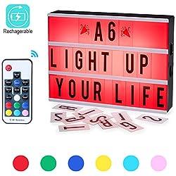 Lumineuse Boite A6,CrazyFire LED Rechargeable Cinema Lumineuse Coloré Légère Boite,7 Couleurs Changeantes,Télécommande Sans Fil,Enseigne Lumineuse pour Décorer Anniversaire/Famille/Boutique