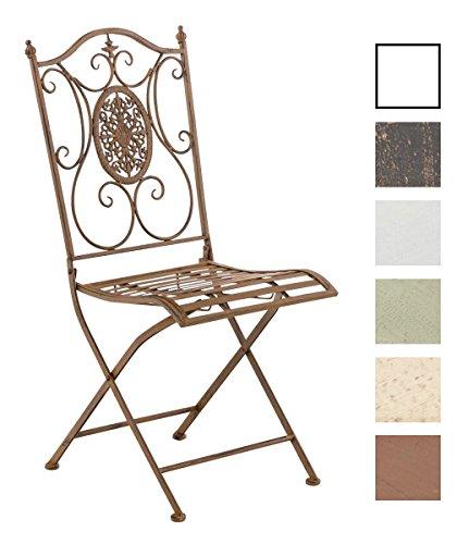 CLP Eisen Garten-Stuhl SIBELL, Metall-Stuhl klappbar, Dehsign nostalgisch antik Antik Braun Eisen Stuhl