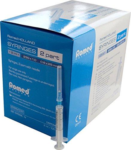 Einmalspritzen + Einmalkanülen einzeln steril verpackt 25 Stück von Romed Medical (2 ml + Einmalkanüle 23 G x 1,0 ( 0,6 x 25 mm ))