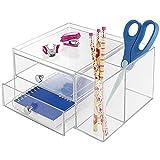 mDesign Schubladen Box - Farbe: Durchsichtig - Schreibtisch Organizer mit 2 Seitenfächern und 2 Schubladen – Praktisches Ordnungssystem Büro für einen aufgeräumten Arbeitsplatz