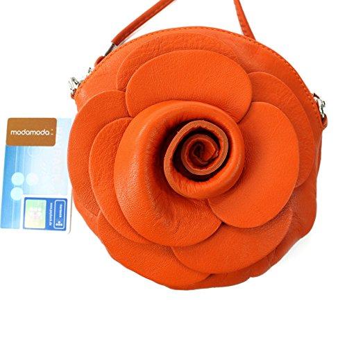 Italiana. Borsa da donna borsa a mano borsa a tracolla Girl City Borsa a tracolla a forma di fiore mini T128 Orange