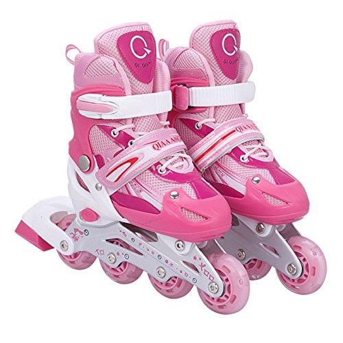 WWJLBX Inline-Skates Männer Frauen Training Rollschuhe Outdoor Speed Buckle Rollerblades Erwachsene Einstellbare Mittelgroße Größe U-Turn (Farbe : Pink, größe : S)