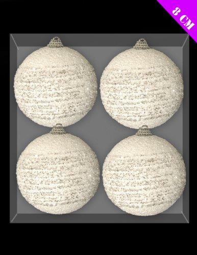 Toyland confezione da 4-8cm ricciolo neve palle di natale decorazioni di natale (dp91)